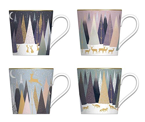 Portmeirion Sara Miller - Taza de Navidad (4 unidades), diseño de pinos helados