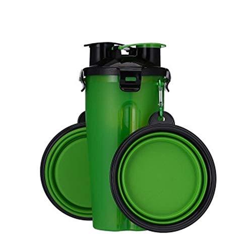 XYKILYPerro 2 En 1 Botella Alimentador para Mascotas Botella De Agua para Perros Tazón Plegable Plegable Viaje Al Aire Libre Almacenamiento De Agua para Gatos Perro