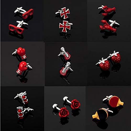 SuoSuo LZWJD Men's Series of Other red Cufflinks/Glasses/Coke Bottle/Cross/Music Symbols/Extinguisher Cufflinks (Metal Color : 17)
