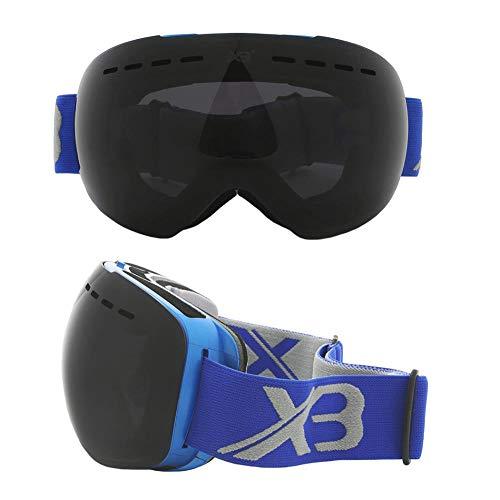 Generieke skibril, verspiegeld zonder frame, tweelaagse, grote, bolvormige sneeuwveiligheidsbril. Full blauwe skibril