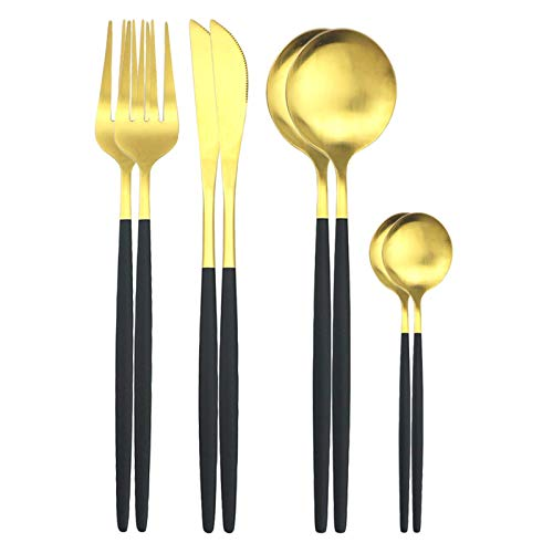 cubiertos 8 unids conjunto de cuchillos cuchillos cuchillos té cucharada cena cena de acero inoxidable vajilla conjunto cocina vajilla de cocina conjunto de cubiertos cuberteria (Color : Black Gold)