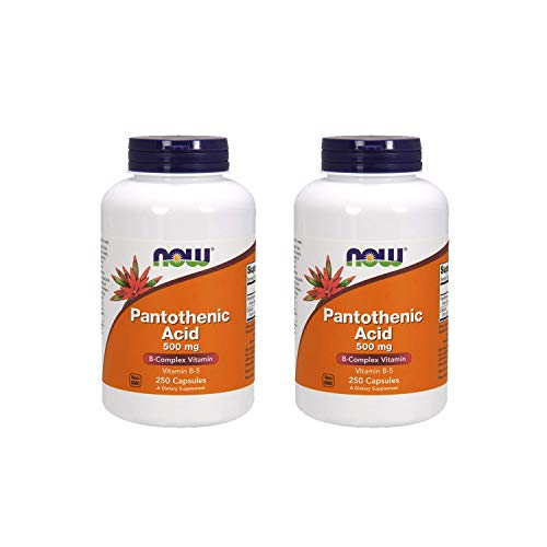 NOW Pantothenic Acid 500mg, 250 Caps (Pack of 2)