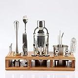 #N/V Juego de 23 cocteleras de acero inoxidable con estante cuadrado de madera para barman