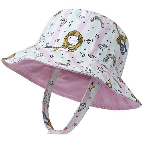 LAPI.ZAPI Baby Sun Hat Print Pattern Reversible Kids Boy Girls hat UPF 50+ Sun Protection Beach Bucket Hat Wide Brim MOK (0-6 Months, Pink Mermaid)