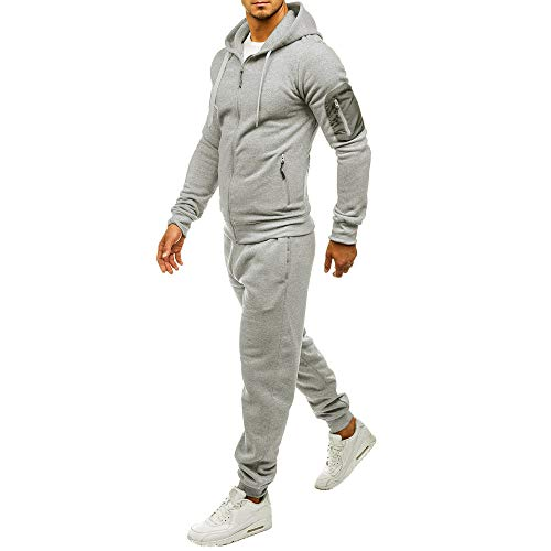 Aiserkly Herren Jogging-Anzug, Trainings-Hose-Jacke-Anzug mit Kapuze und Rippstrickbündchen Sporthose+Hoodie Jogger Freizeitanzug Hausanzug Zwei-Teilig Grau M