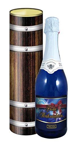 Frohe Weihnachten 0,75l Sekt (Mosel) blaue Flasche in der Geschenkdose im Holzdesign