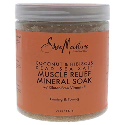 Shea Moisture Coconut & Hibiscus Dead Sea Salt Muscle Relief Mineral Soak for Unisex, 20 Ounce