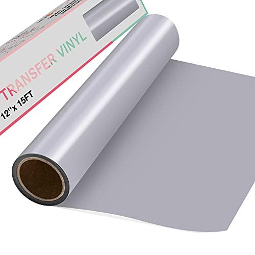 HTVRONT Plotterfolie Textil 30.5cm x4.57m Flexfolie für T-Shirts & Stoffe (Silber)