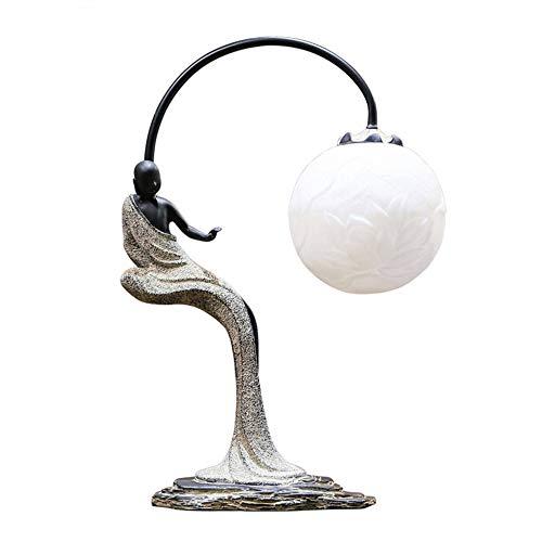 TischlampeChinesische Einfache Zen Buddha Tischlampe Kreatives Schlafzimmer Nachttisch Retro Studie Wohnzimmer Dekorative Lichter E27Geeignet Für Wohnzimmer Zu Hause Wohnzimmer