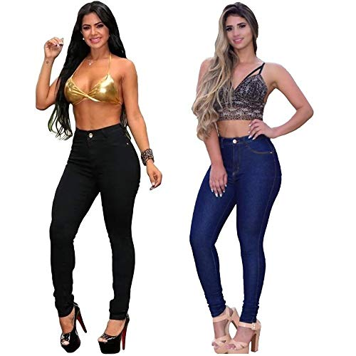 Kit com 2 Calças Jeans Femininas Cintura Alta (Azul/Preta, 42)