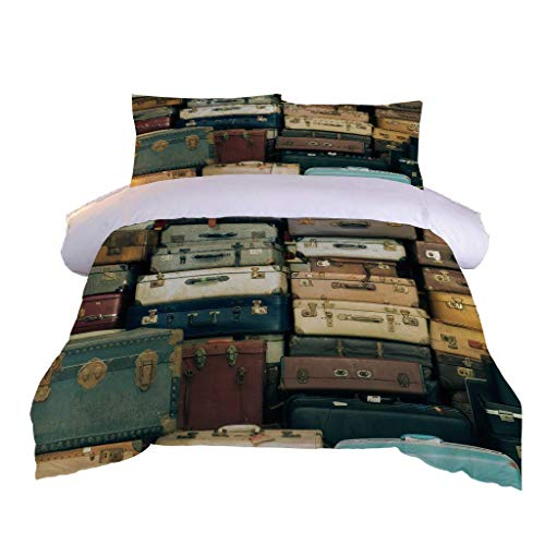 LMHWW Bedding Printed Duvet Cover Set - Vintage Suitcase Soft Microfibre Duvet Cover With 2 Pillowcases - 3 Piece Quilt Bed Cover With Zipper Closure - King Size 230X220cm + 50X80cmx2