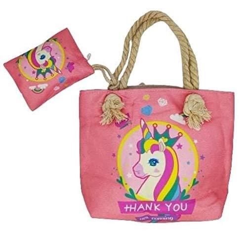 Goods4good Bolso Playa Piscina Unicornio Pequeño para Niña/Chica con Regalo Neceser/Monedero Color Rosa Asas Cremallera Regalo Verano (Rosa 2)