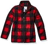 Amazon Essentials Kids Boys Polar Fleece Full-Zip Jacket, Exploded Red Buffalo Check, Medium
