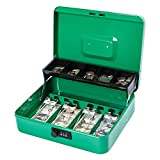 KYODOLED Large Cash Box with Combination Lock,Money Box with Cash Tray, Lock Safe Box with Key,Money Saving Organizer,11.81Lx 9.45Wx 3.54H Inches,Green XL Large