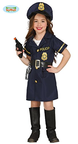 Kinderkostüm Polizistin Josy Mädchen Kleid blau Polizei Uniform Fasching Kinder (7-9 Jahre)