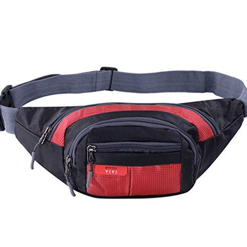 Black Temptation Outdoor Sports Sacs de Taille multifonctionnels pour la Course,la randonnée,Le Cyclisme,Le Camping, Rouge 35x15cm