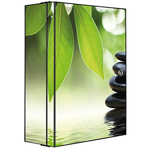 banjado XXL Medizinschrank abschliessbar | großer Arzneischrank 35x46x15cm | Medikamentenschrank aus Metall grau | Motiv Steine&Relax mit 2 Schlüsseln | Gestaltung auf Front und Seiten