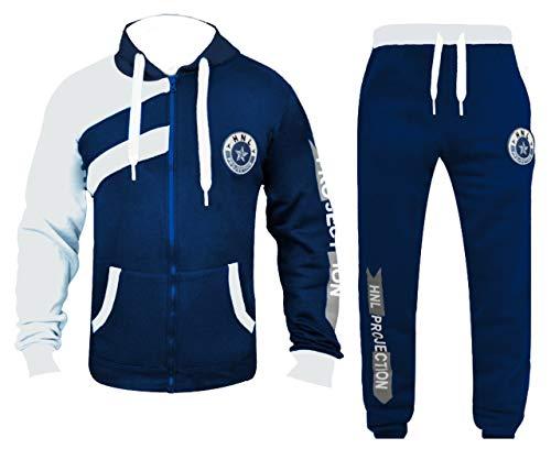 GUBA® Kinder-Trainingsanzug für Jungen, Mädchen, HNL-Projektion, Hoodie und Hose, Jogginganzug, 2-13 Jahre Gr. 7-8 Jahre, marineblau/weiß