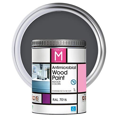 Pintura para Madera | 1 L | Pintura Interior RAL 7016 | Laca para Madera Antimicrobios | Protege y Embellece la Madera de los Muebles | Aspecto Cálido y Satinado | Color Gris antracita