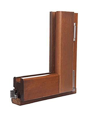 Foto di Infisso in legno senza PVC - Kit finestra a 2 ante da 185 x 140 cm - Noce scuro