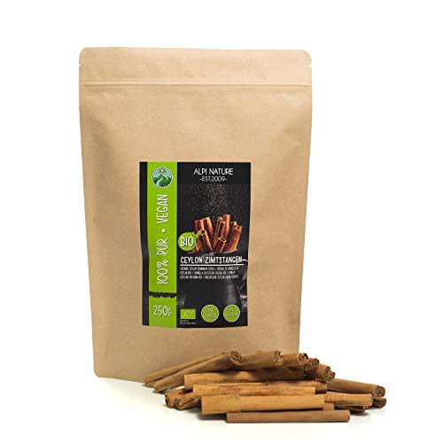 Palos de canela de Ceilán orgánico (250g), canela de Ceilán en rama, desde el cultivo orgánico certificado, sin gluten, sin lactosa, vegano, 100% naturales de canela probada en laboratorio