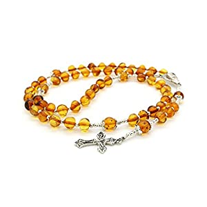 Catholic Prayer Beads - Natural Cognac Baltic Amber Rosary for Baptism, Christening, First Communion, Confirmation
