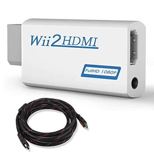 COOLEAD Convertidor Wii a HDMI Adaptador Wii2HDMI Converter Wii to HDMI Conector con Cable HDMI con Salida de Video Full HD 1080p 720p y Audio de 3.5mm para Wii U Wii Smart HDTV Monitor Proyector