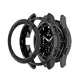 Chofit - Custodia protettiva compatibile con Samsung Galaxy Watch 4 Classic 42 mm 46 mm, in TPU con anello di lunetta e anello adesivo per smartwatch Galaxy Watch4 Classic (46 mm, nero)