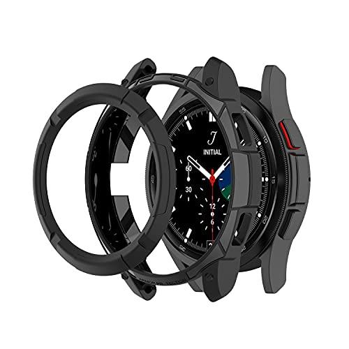 Chofit Schutzhülle kompatibel mit Samsung Galaxy Watch 4 Classic, 42 mm, 46 mm, TPU-Schutzhülle mit Lünette, Ringschlaufe für Galaxy Watch 4 Classic Smartwatch (46 mm, schwarz)