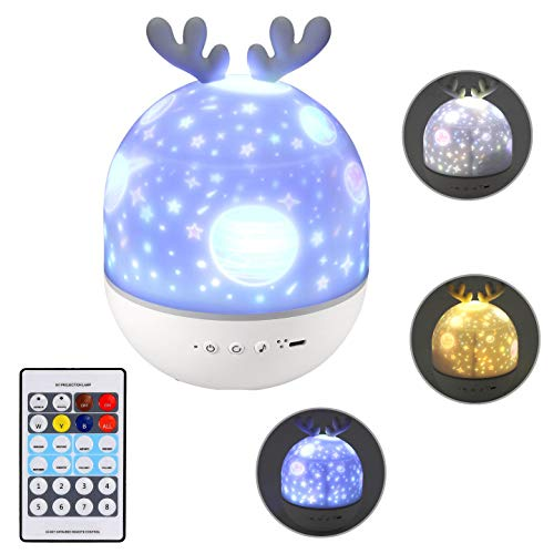 Justech LED Lámapra Proyector Infantil de Canción con 6 Película Temáticas Giratorio 360° 3 Colores 8 Niveles de Luz Proyector Estrellas Recargable USB con Control Remoto de Bluetooth y Temporizador