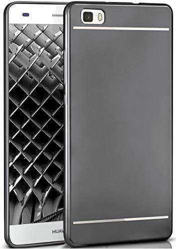 moex® Stylische Chrome Schutzhülle in Matt-Metallic aus Silikon passend für Huawei P8 Lite 2015 | Flexibel & Widerstandsfähig, Schwarz