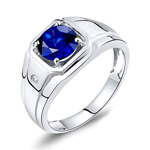KnSam 18K White Gold Ring Band Men, Square 4 Claws Round Cut Blue Sapphire 1ct VVS and 0.015ct Diamond Silver Ring Size R 1/2