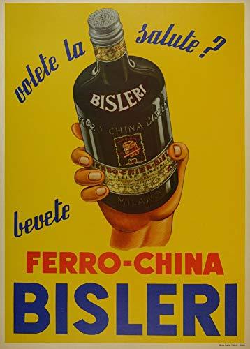 Vintage bieren, wijnen en sterke drank 'Ferro-China Bisleri', Italië, jaren 50, 250gsm Zacht-Satijn Laagglans Reproductie A3 Poster