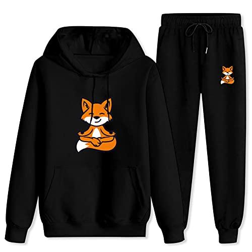 Jsmllia Men's Tracksuit Set,3D Print Fox Do Yoga Pullover Hoodies+Jogger Pant with Pockets XX-Large