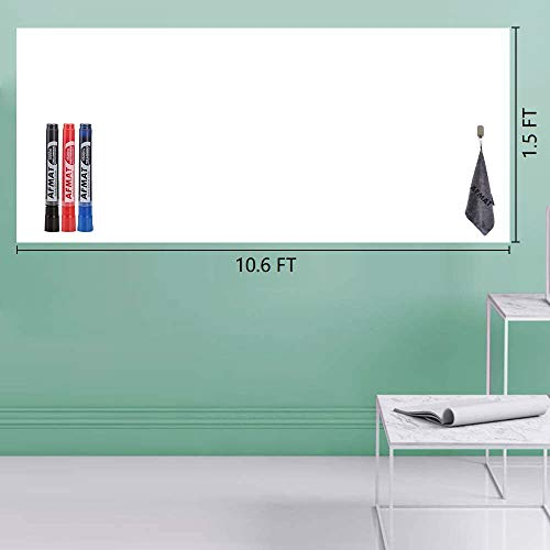 Whiteboard Wallpaper, Dry Erase Roll, White Board Roll, Peel and Stick White Board for Wall/Table/Door/Fridge, Office, School, Kids Painting, 1.5 x 10.6 ft, Super Sticky, Stain Proof, 3 Markers