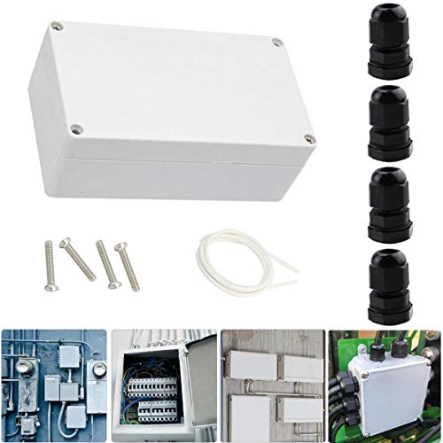 Youmile Electronic Project Box 158 x 90 x 60 mm Caja de plástico resistente al agua para unión exterior + prensaestopas PG7