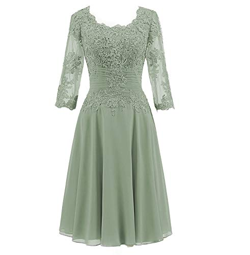 Lover Kiss Women's Lace Applique Mother Of The Bride Knee Length Dress With Pleated Waist 12 Sage Green