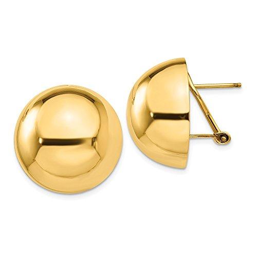 Pendientes de oro amarillo pulido de 14 quilates con cierre de bola para mujer