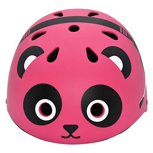 inhzoy Kinderhelm Helm Cartoon Bär Muster Fahrradhelm Skateboard Reiten Radfahren Fahrrad und Outdoor Aktivitäten Sport Schutzausrüstung Rosenrot One Size