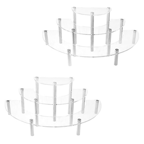 MyGift 6-Piece Set Clear Acrylic Half Moon Server Cupcake Dessert Display Stand, Tabletop Collectible Showcase Risers