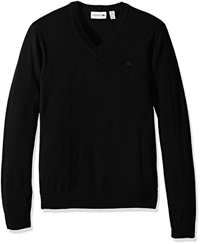 Lacoste Men's 100% Lambswool V Neck Sweater with Tonal Croc, Black, Large