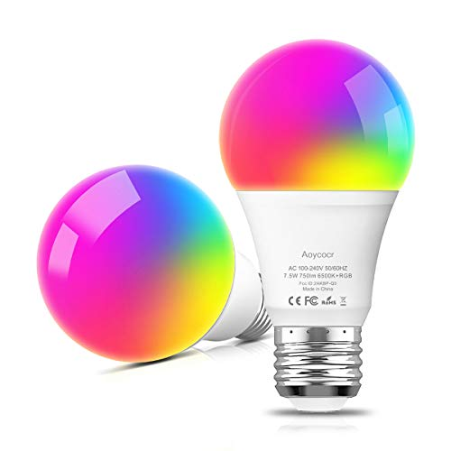 A19 LED Light Bulbs, Smart Bulbs Compatible with Alexa, Google Home Assitant, No Hub Required, Wi-Fi, Dimmable, E26 Base, 6500K Daylight, 750 Lumens, UL ETL Listed, 2 Pack