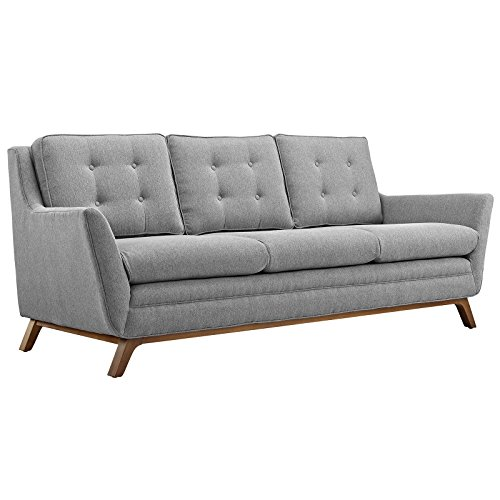Modway Beguile Mid-Century Modern Sofa With Upholstered Fabric In Expectation Gray