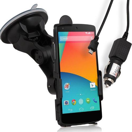 Wicked Chili KFZ Halterung für Google Nexus 5 + KFZ Ladekabel (drehbar, 12V, 24V, 150cm glattes Kabel, 1.000 mA)
