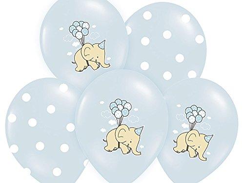 Kleenes Traumhandel 6 Luftballons zum Geburtstag - 30 cm - Schwebender Elefant - 6 Ballons in Blau mit Elefanten und Punkten