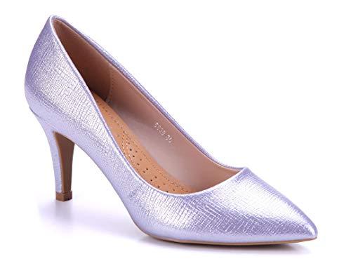 Schuhtempel24 Damen Schuhe Klassische Pumps lila Stiletto 8 cm