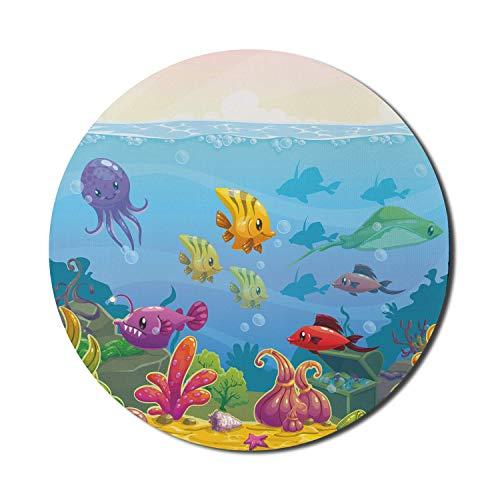 Aquarium Mauspad für Computer, lustige Unterwasserlandschaft im Cartoon-Stil mit verschiedenen Tieren und Schatztruhe, rundes, rutschfestes, dickes, modernes Gaming-Mousepad aus Gummi, 8 'rund, mehrfa