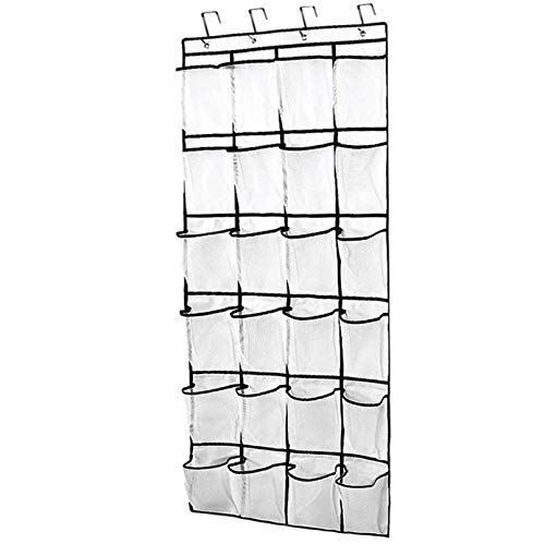 Tebery 24 Large Mesh Pockets Hanging Over the Door Shoe Organizer with 4 Steel Over the Door Hooks White