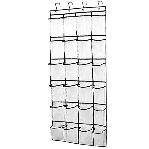 Tebery - Organizador de zapatos con 24 grandes bolsillos de malla para colgar sobre la puerta, con 4 ganchos de acero (blanco)