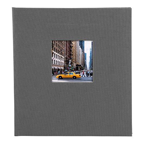 goldbuch Fotoalbum mit Bildausschnitt, Bella Vista, 30x31 cm, 60 schwarze Seiten mit Pergamin-Trennblättern, Leinen, grau,  27 945
